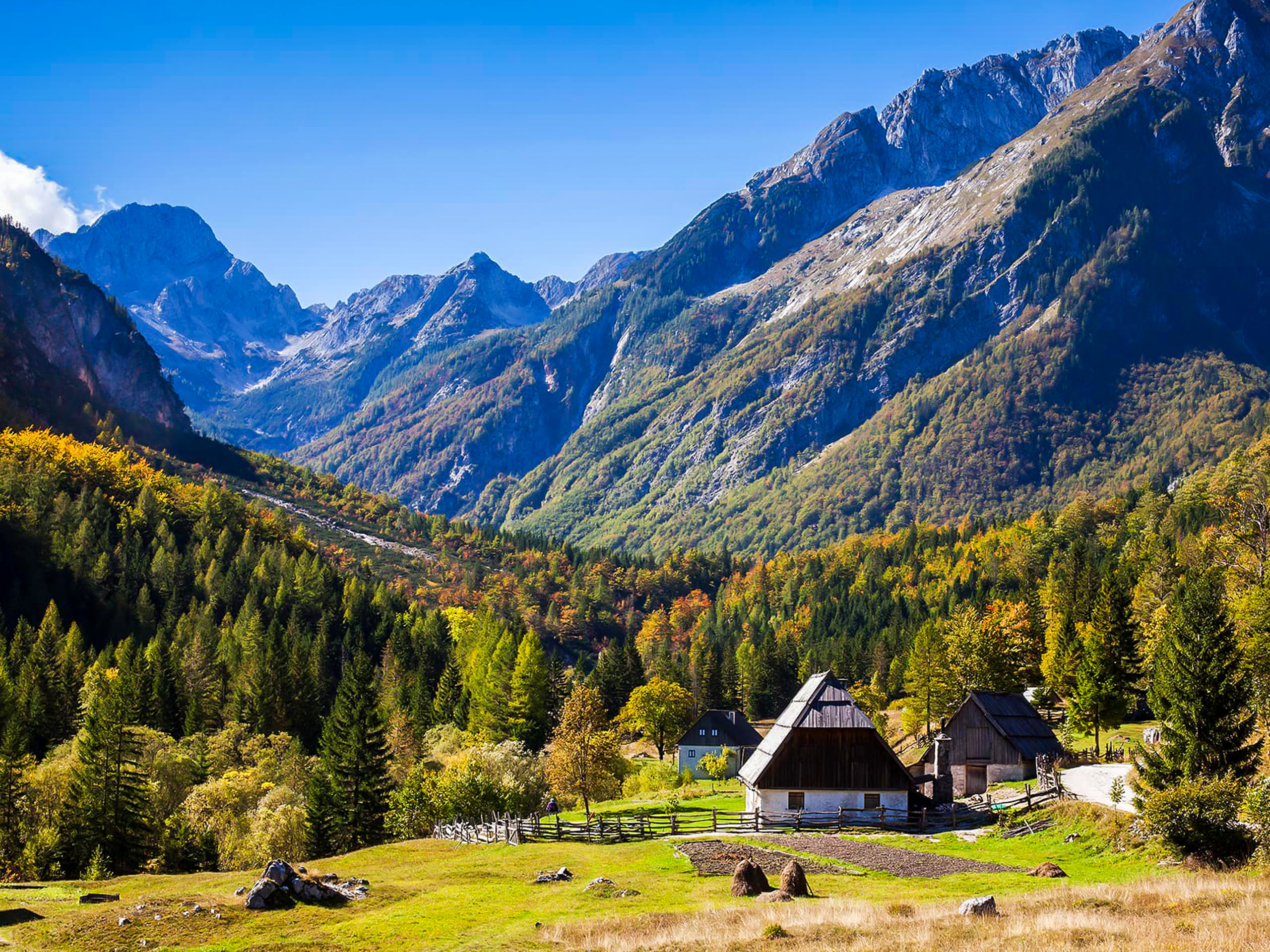 Beautiful houses in the mountains