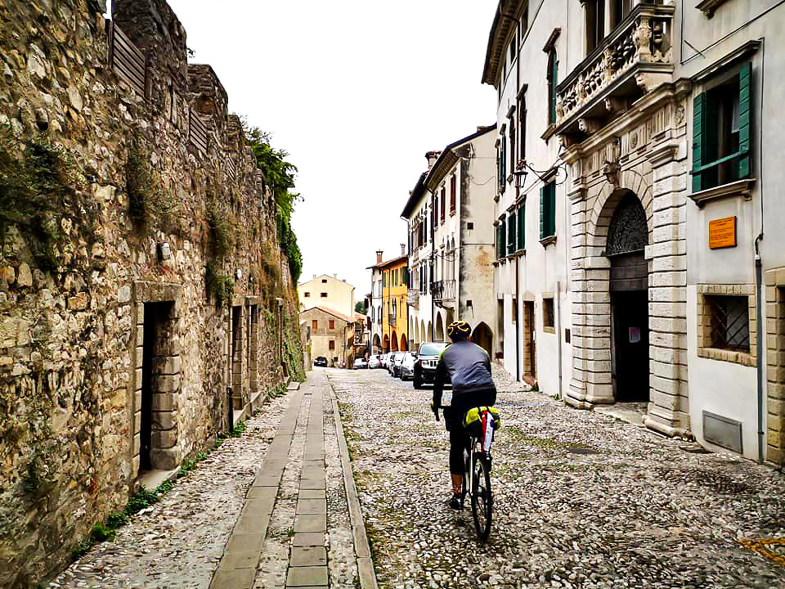 Cycling in the old city street