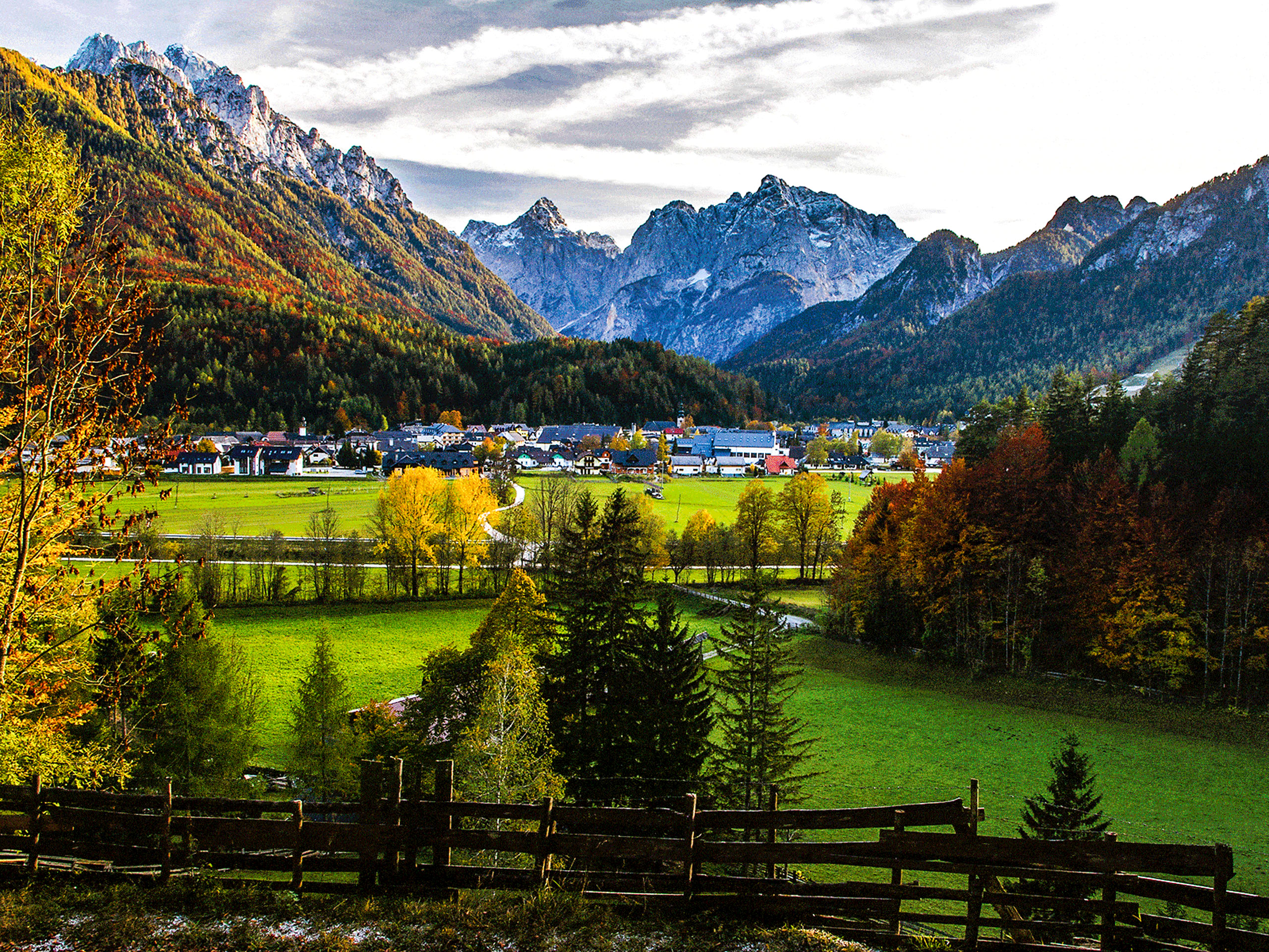 Mountains city landscape in Slovenia