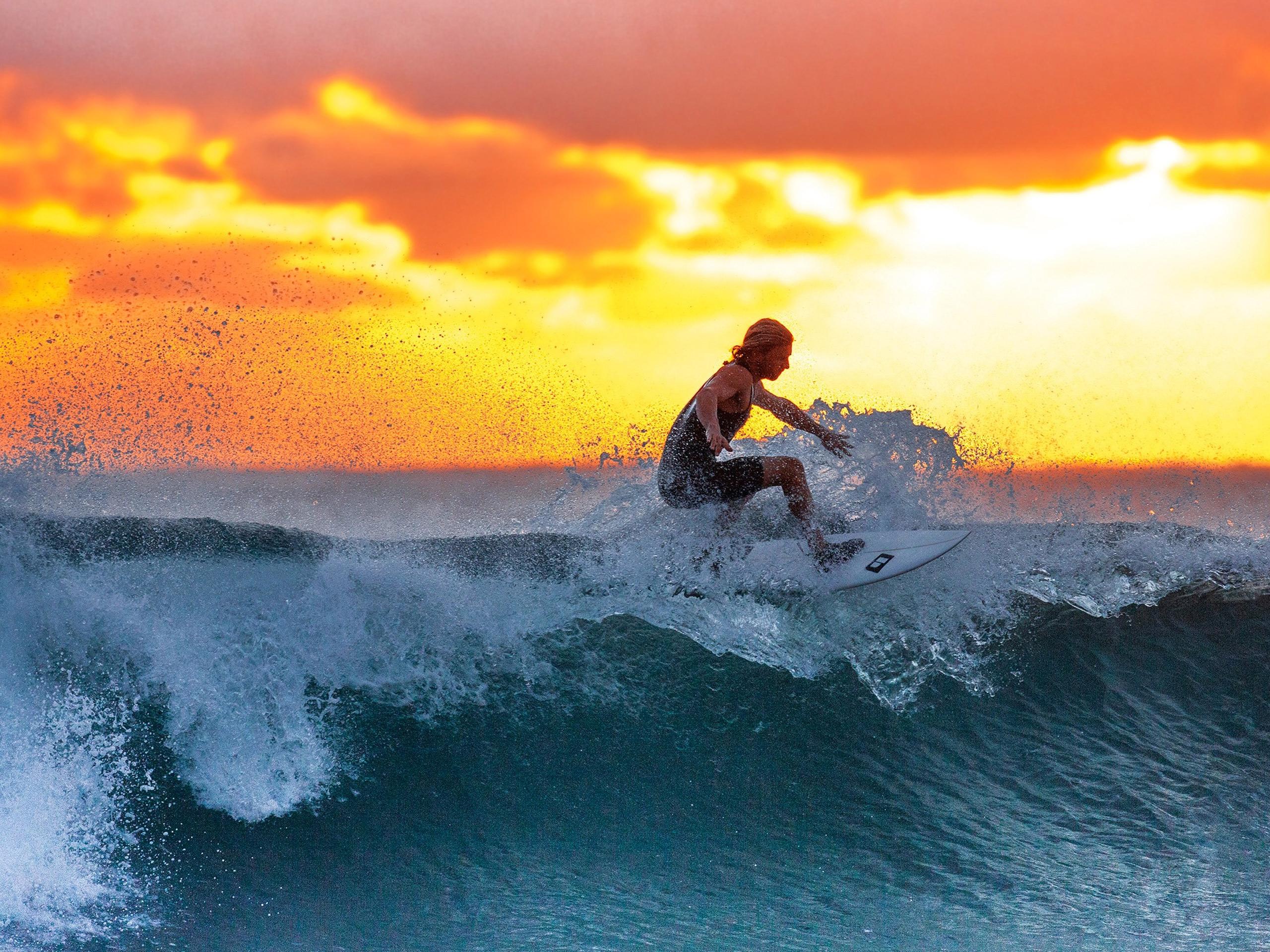 Sunset surfing in Tofino
