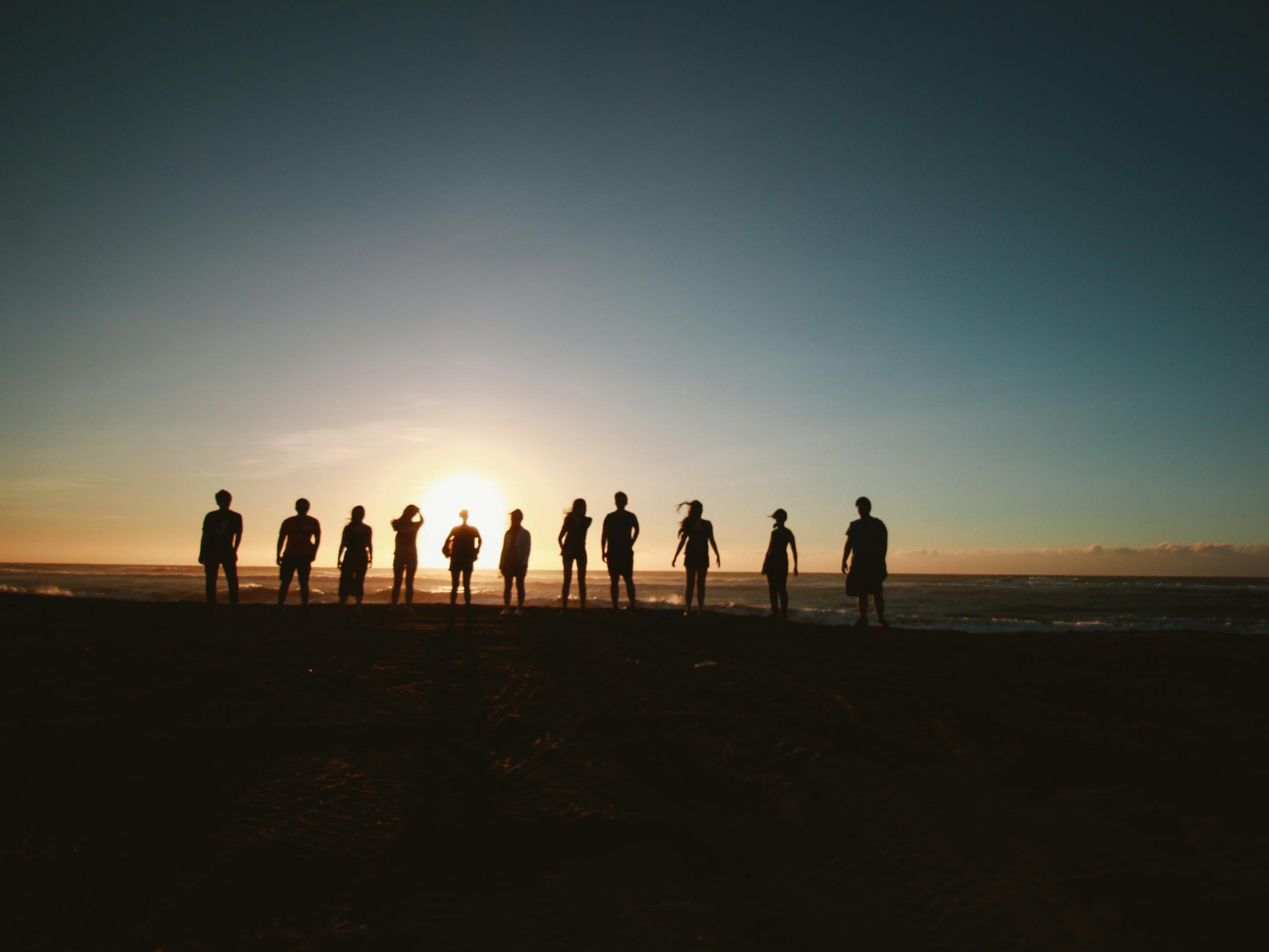 Yoga group on the beach