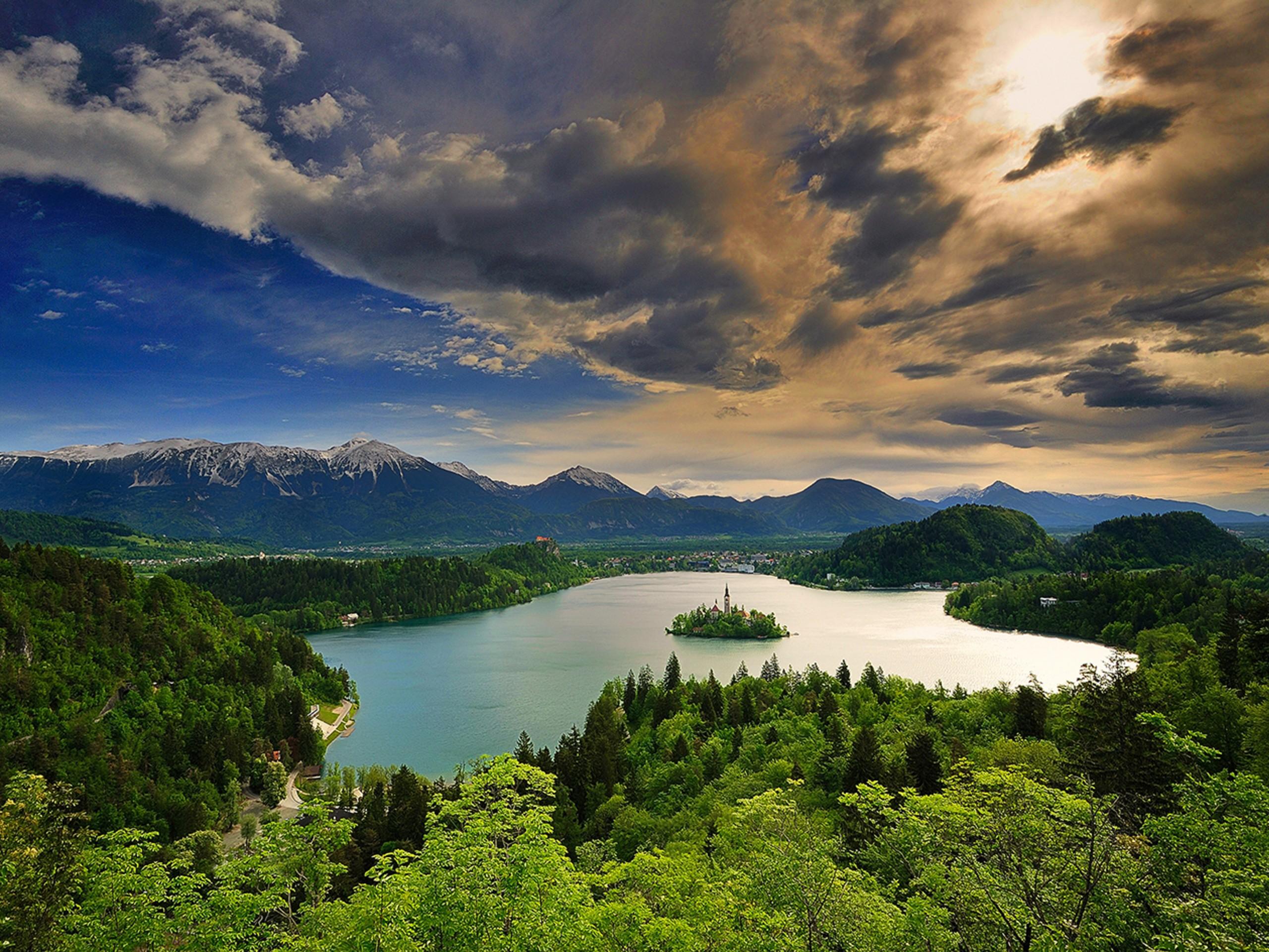 Sunset over Bled lake in Slovenia