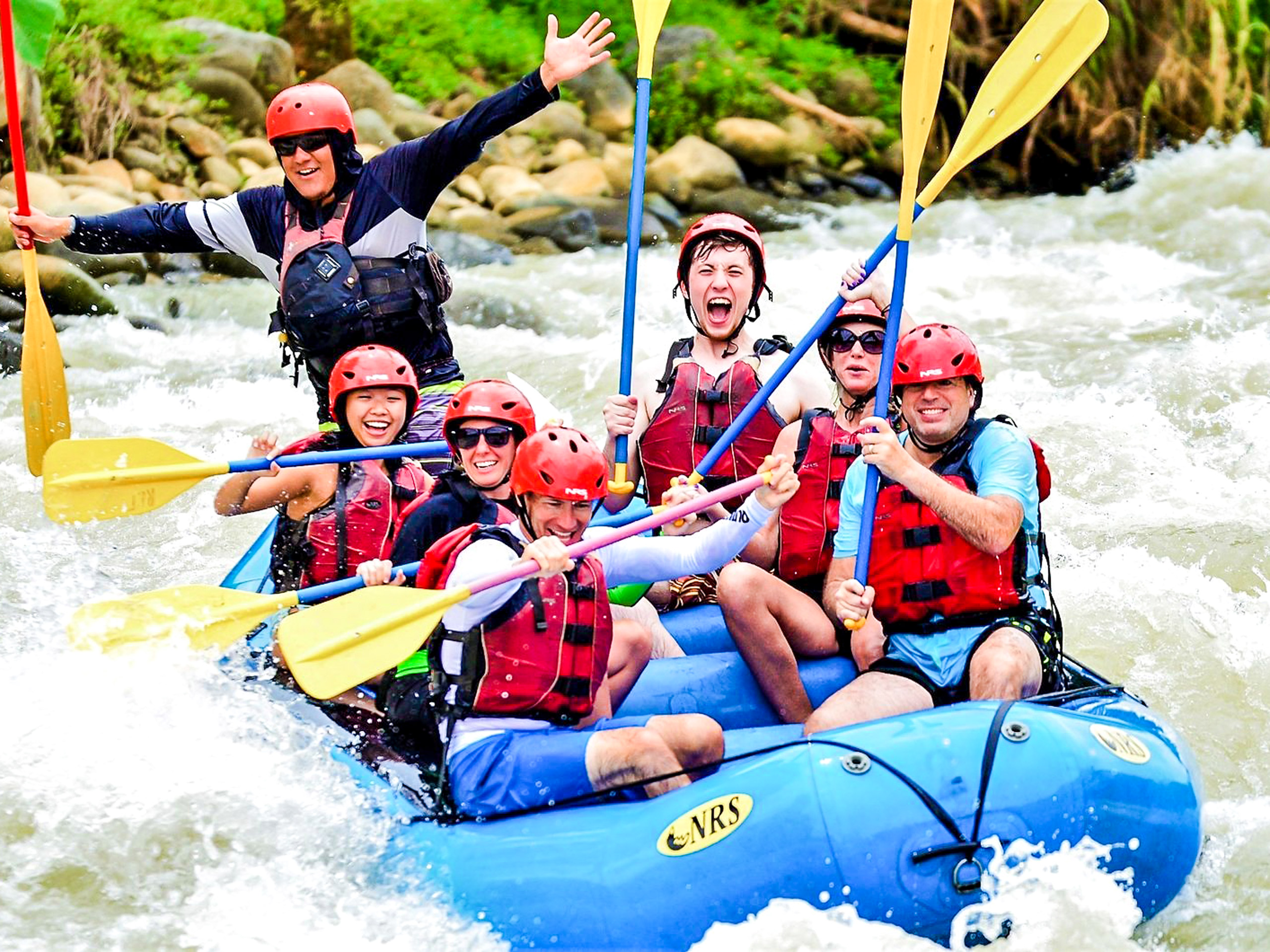 Rafting on a rocky river