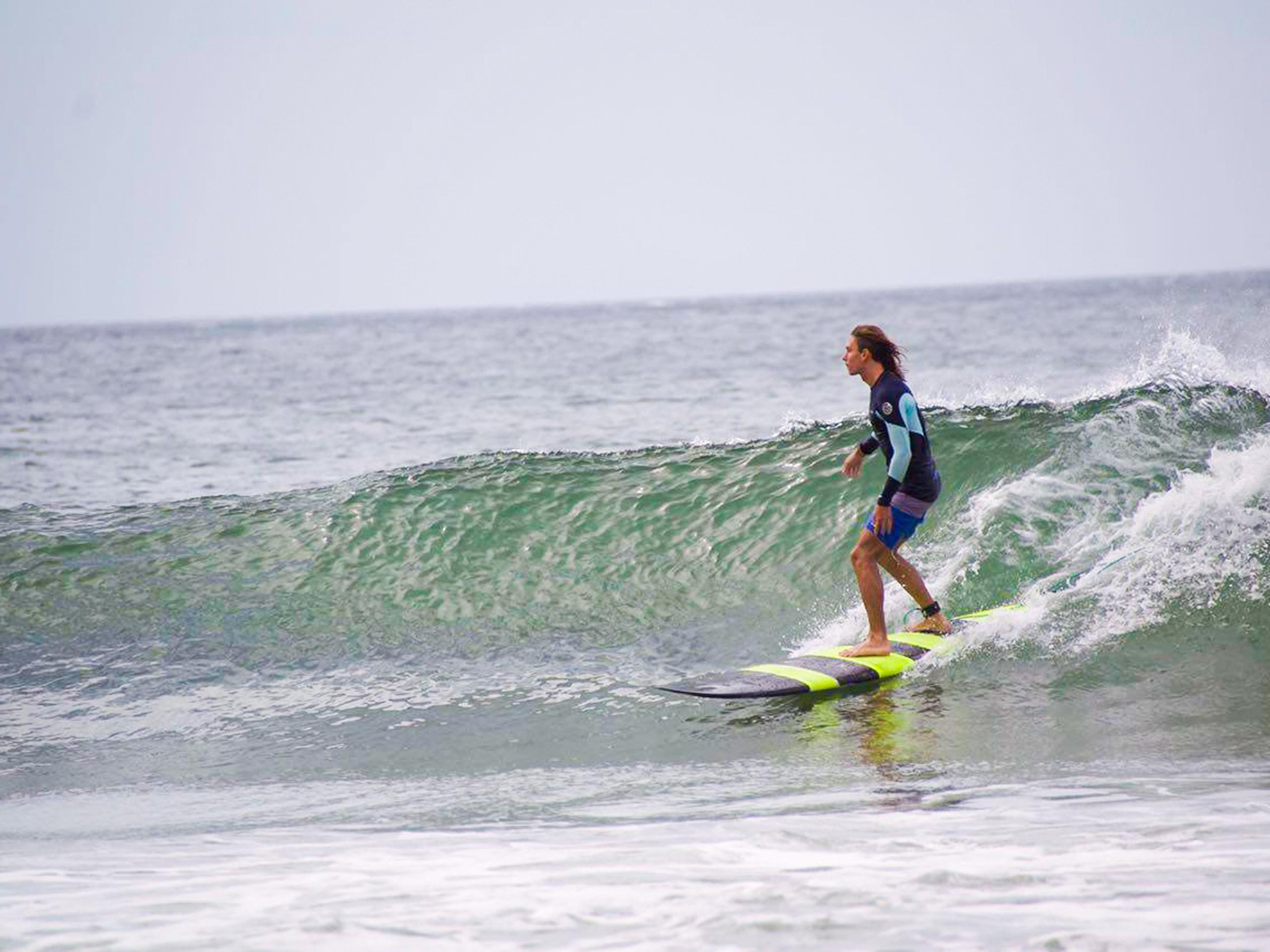 Longboard surfing in Costa Rica