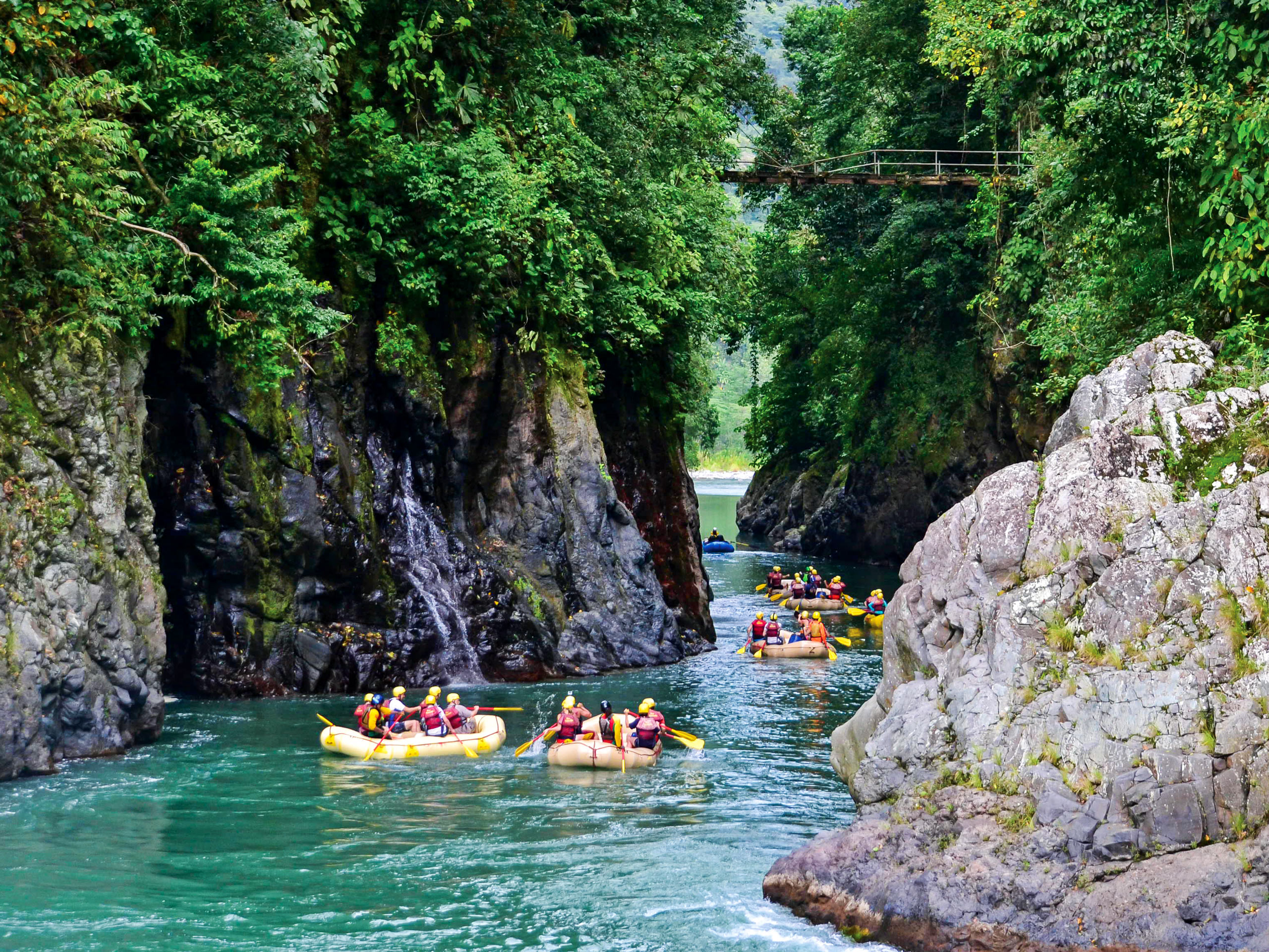 Rafting on the canal in the rainforest