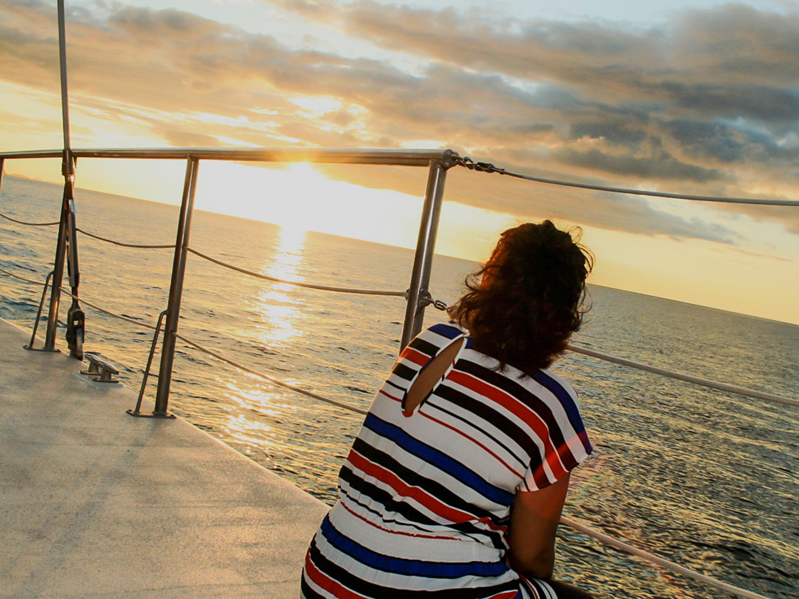 Catamaran journey at sunset