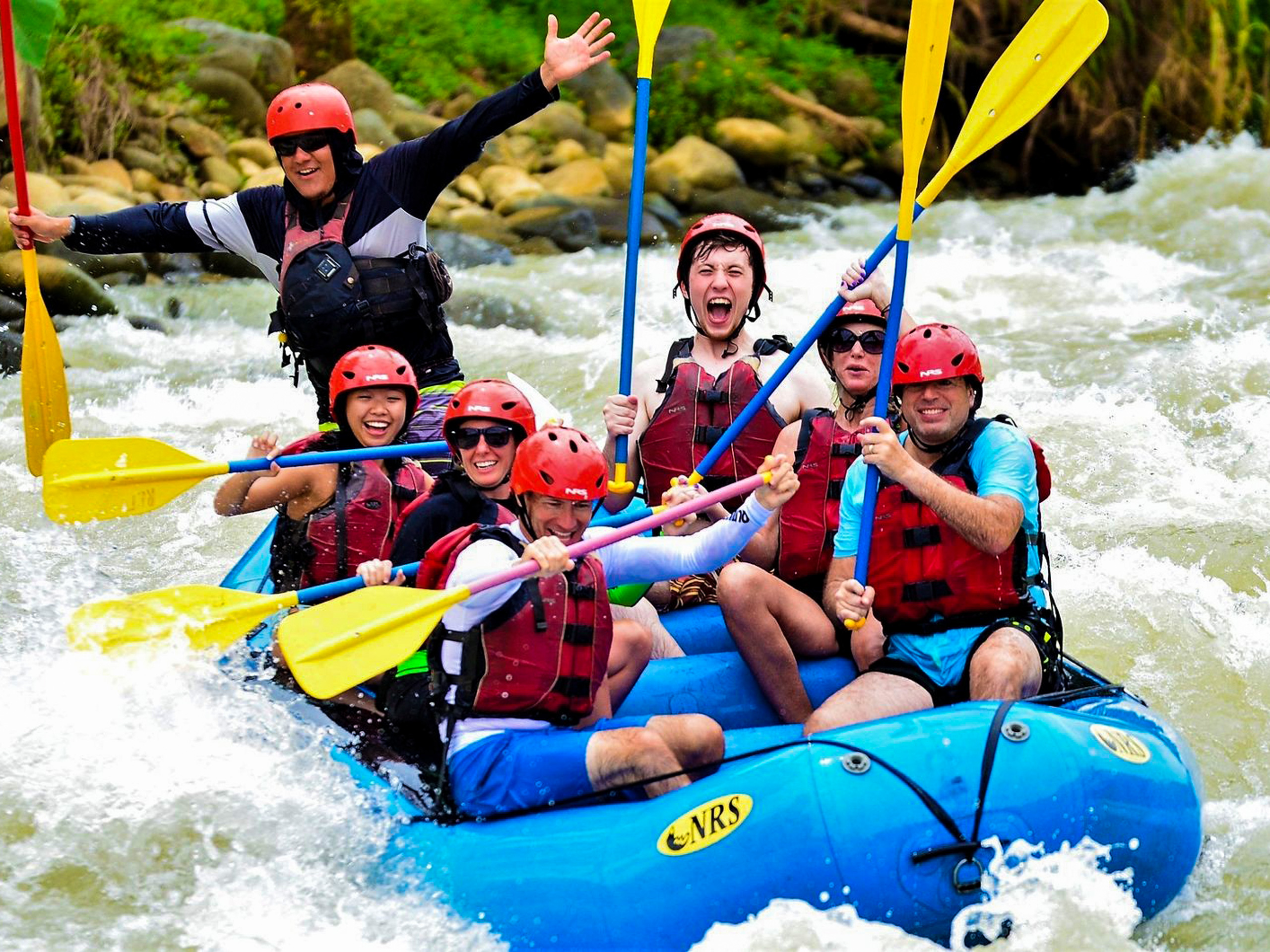 Extreme rafting on a rocky river