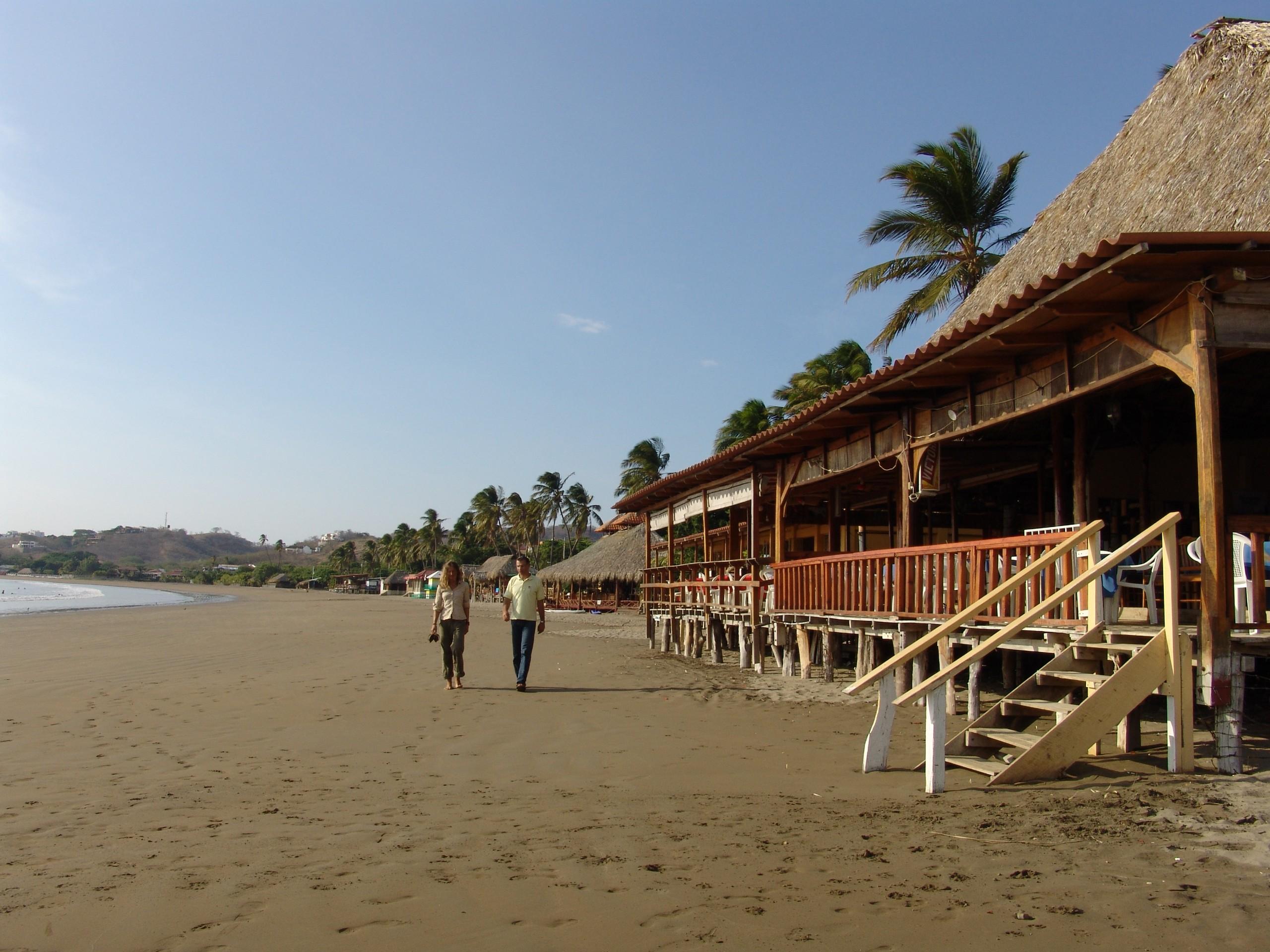 Walking along the San Juan del Sur beach in Nicaragua