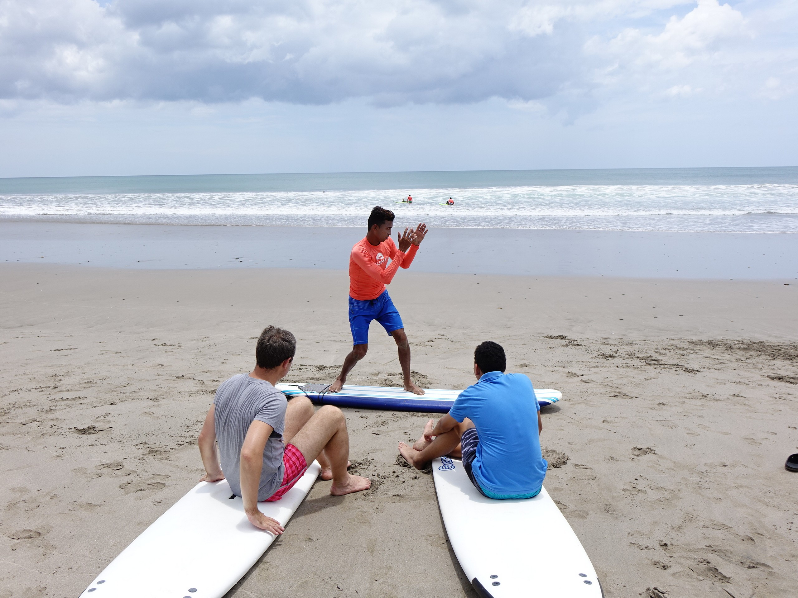 Resting before the surfing lesson in San Juan del Sur, Nicaragua